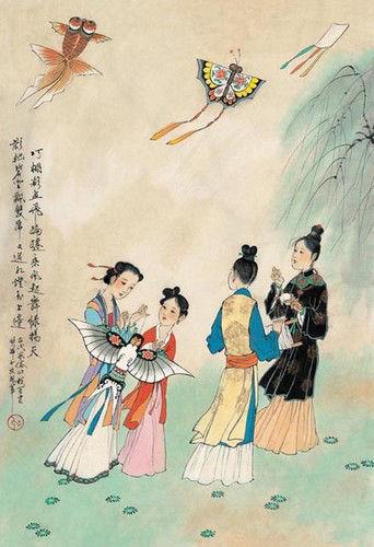 古代简笔桃花画风景