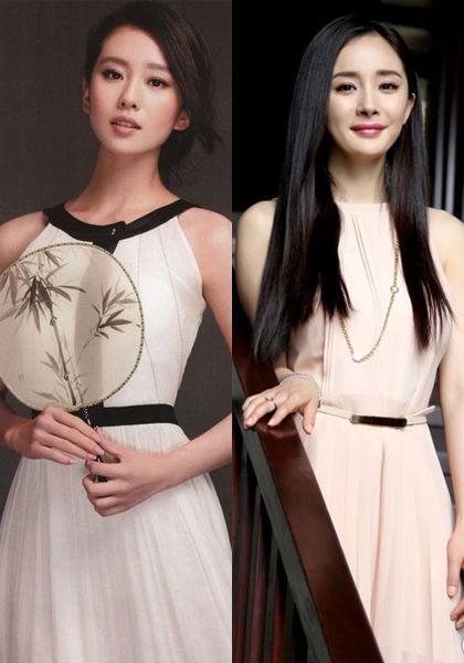 看看杨幂的齐眉长发搭配圆形复杂花纹的束胸连衣短