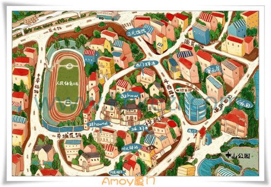 超萌厦门手绘地图