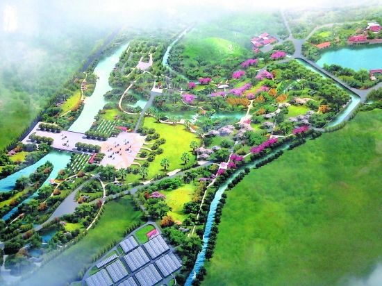 泉州(海西)植物园核心区鸟瞰图(翻拍)