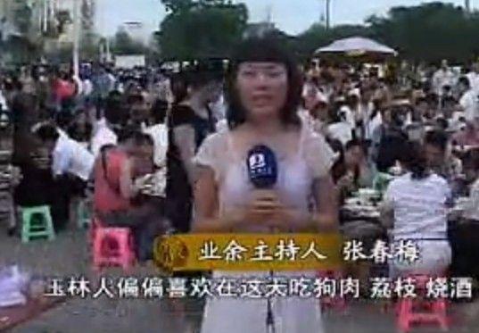 """广西玉林当地电视报道""""狗肉节"""":夏至狗荔枝酒"""