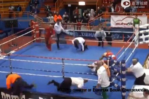 拳击手不满判罚暴揍裁判 获胜者慌张逃跑